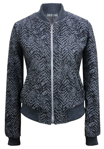 Italian Denim Animal Print Bomber Jacket - Shadow Grey