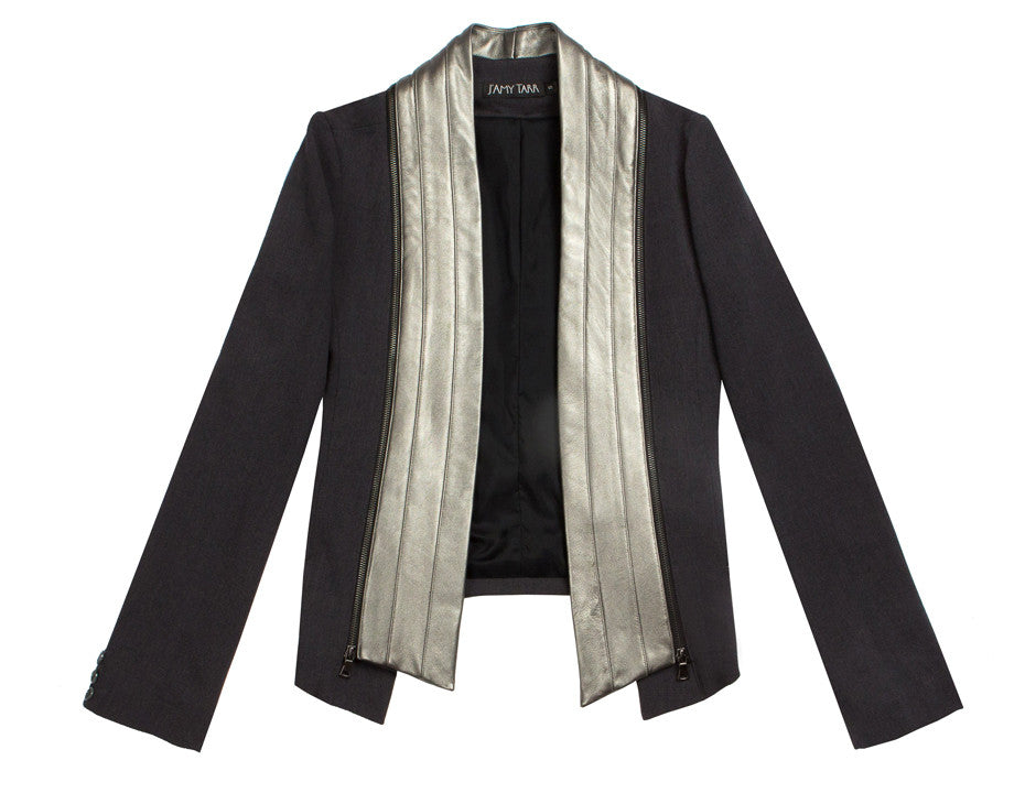 Charcoal/Silver Signature Leather Tux Jacket
