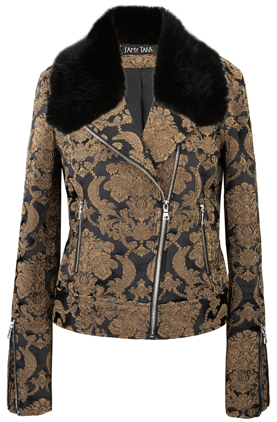 Imperial Brocade Biker Jacket w/ removable faux fur collar