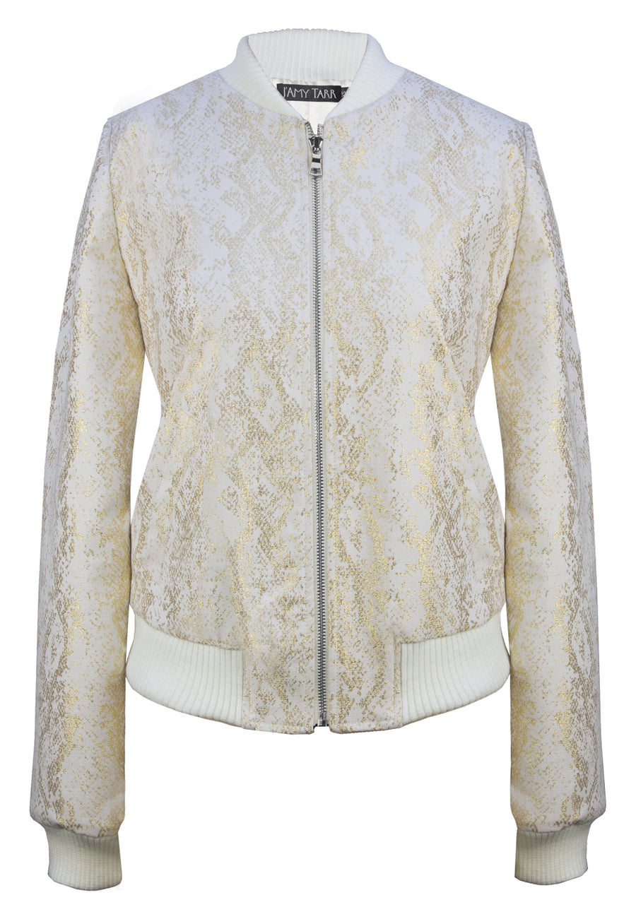 Gold Snakeskin on Ivory Denim Bomber Jacket - Contrast SILVER Zipper