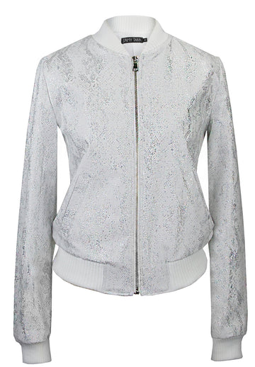 Silver Snakeskin on White Denim Bomber Jacket