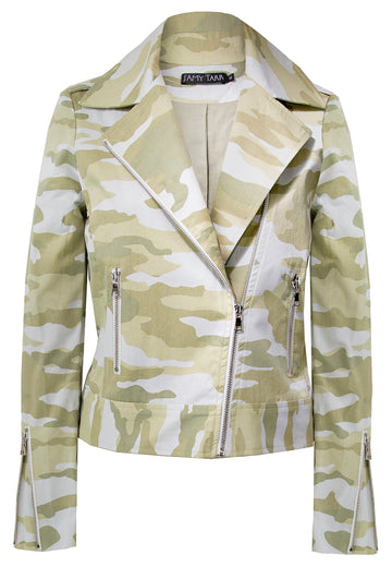 Lemongrass Camouflage - Sustainable Cotton Biker Jacket