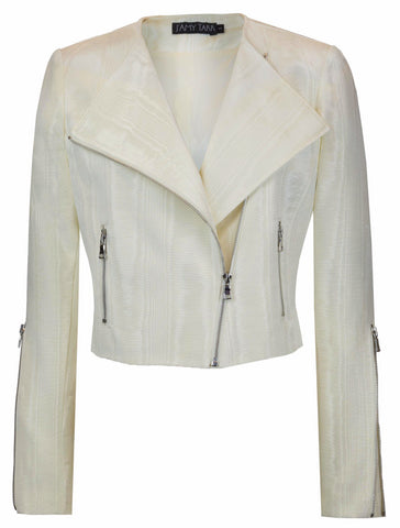 Cream Moire Moto Jacket