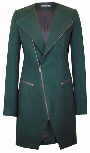 Forest Green Moto Coat