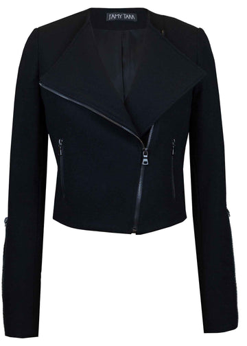 Jet Black Japanese Wool Moto Jacket