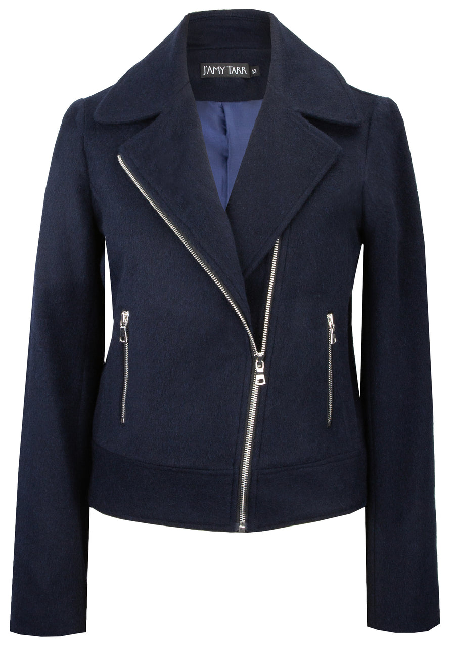 Navy Biker Jacket - Soft Japanese Wool