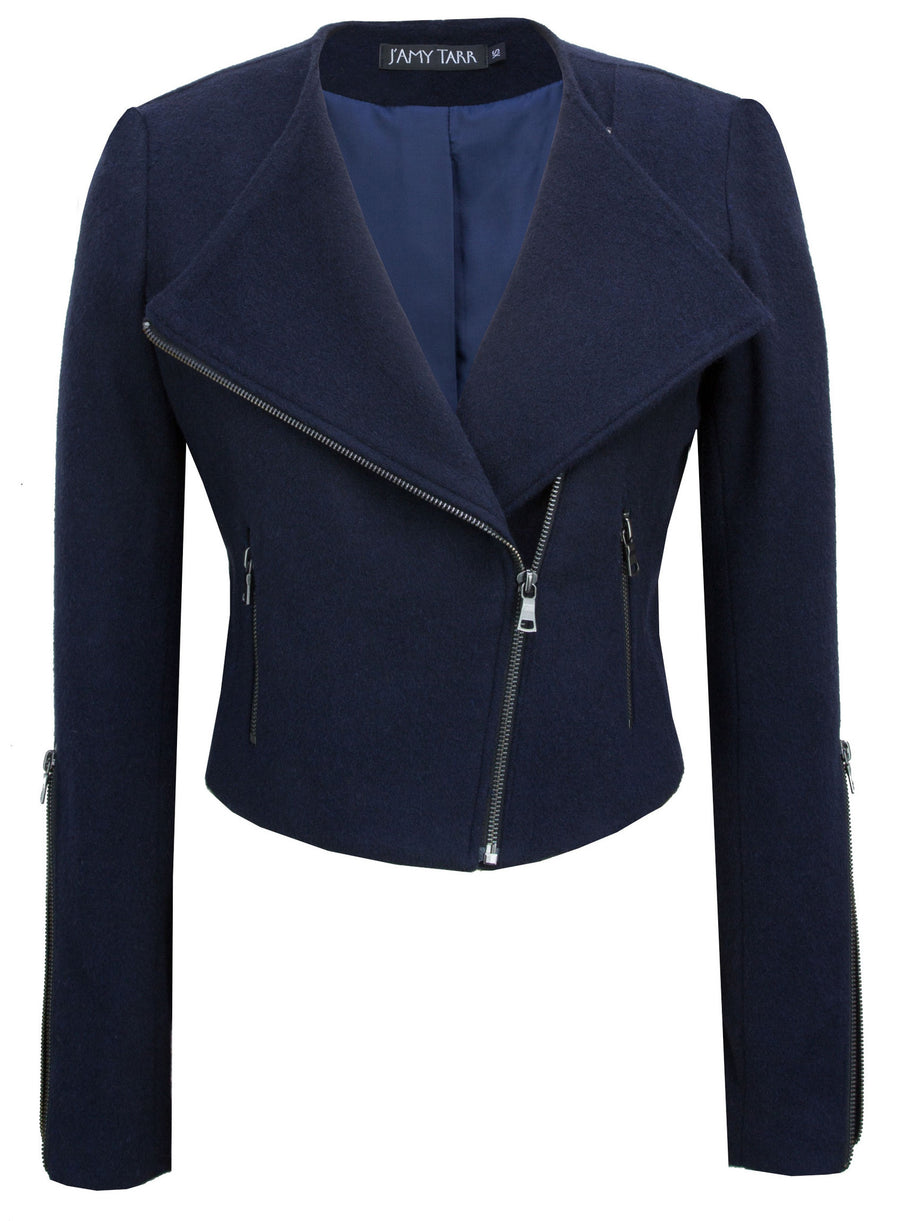 Navy Japanese Wool Moto Jacket