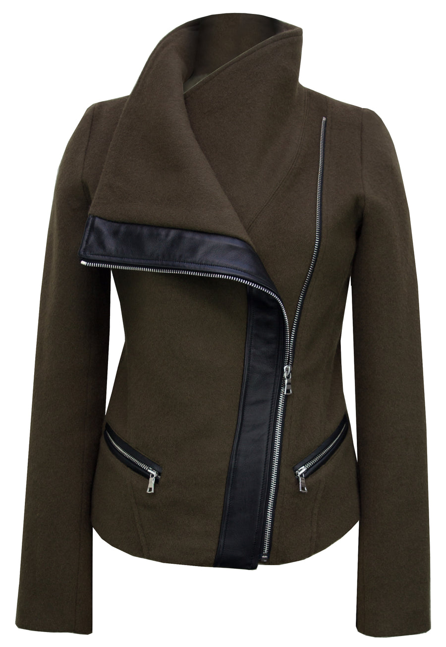 The Funnel-Neck Jacket in Olive