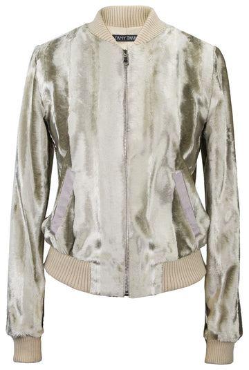 Fur Bomber Jacket - Platinum