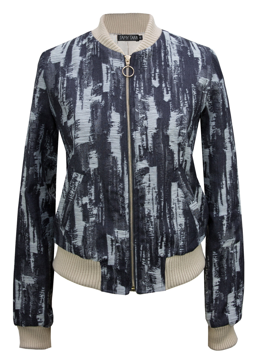 Raw Denim Jacquard Bomber Jacket in Navy