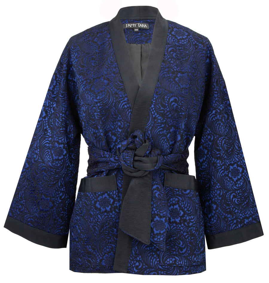 Short Kimono with Belt in Sapphire