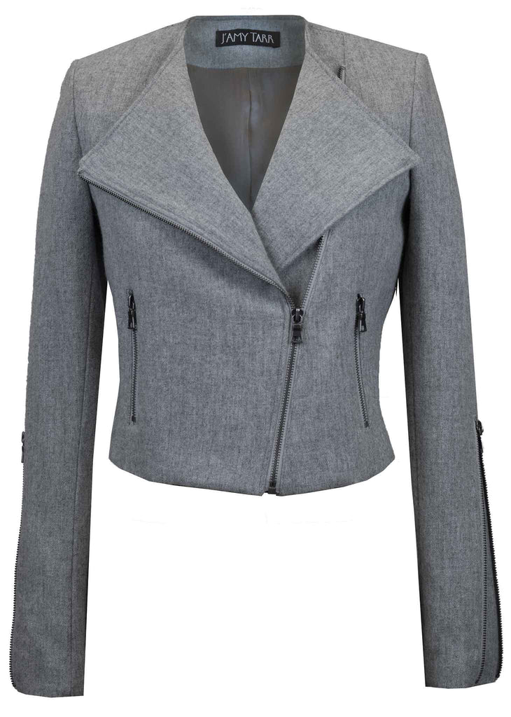 Stone Grey Japanese Wool Moto Jacket