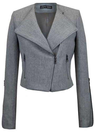 Light Stone Grey Japanese Wool Moto Jacket