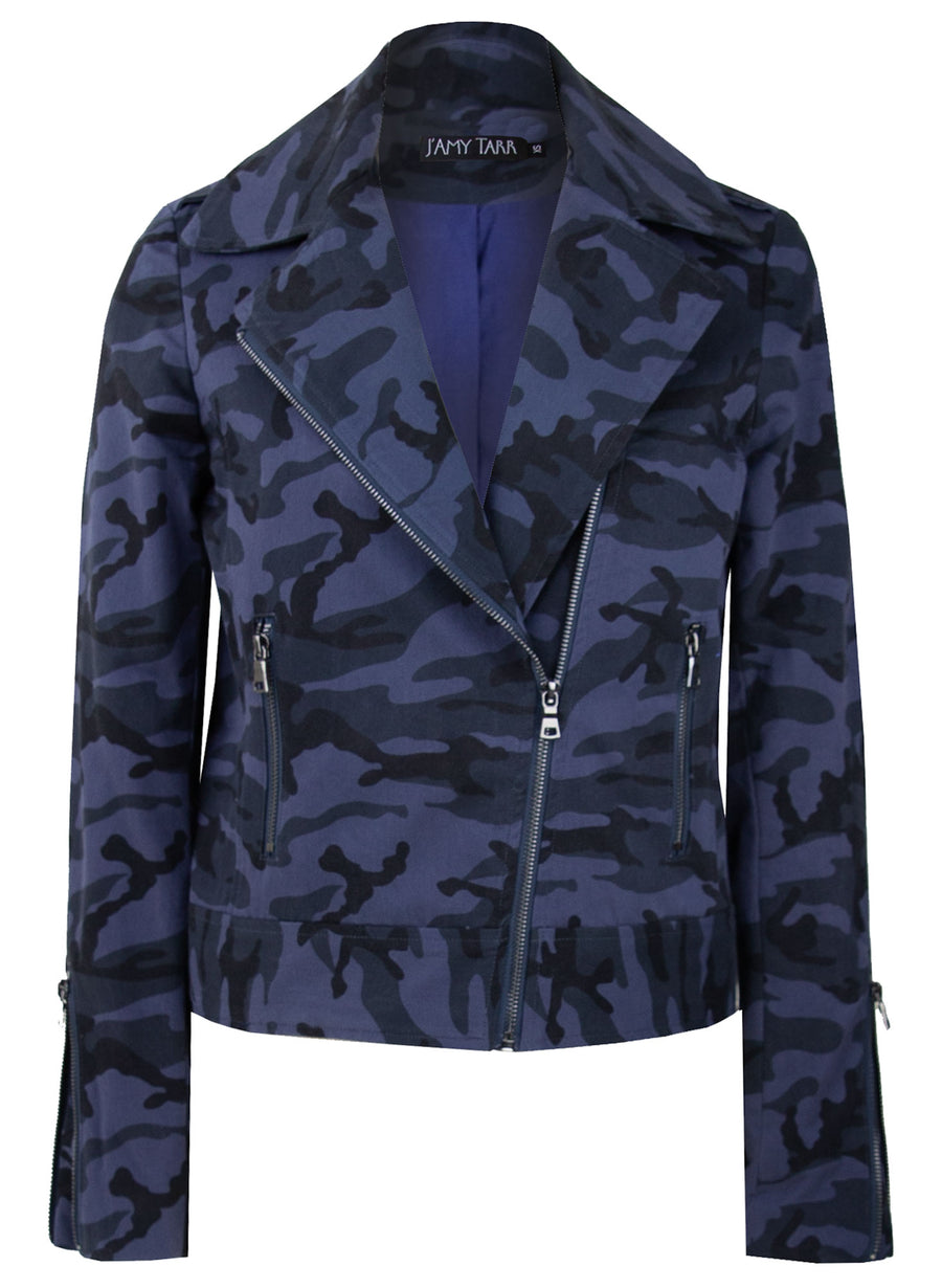 Sapphire Camouflage - Sustainable Cotton Biker Jacket