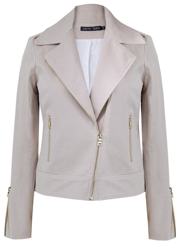 Mauve Blush - Sustainable Cotton Biker Jacket