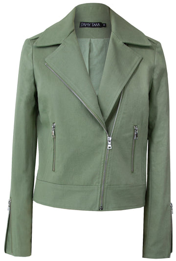Sage - Sustainable Cotton Biker Jacket