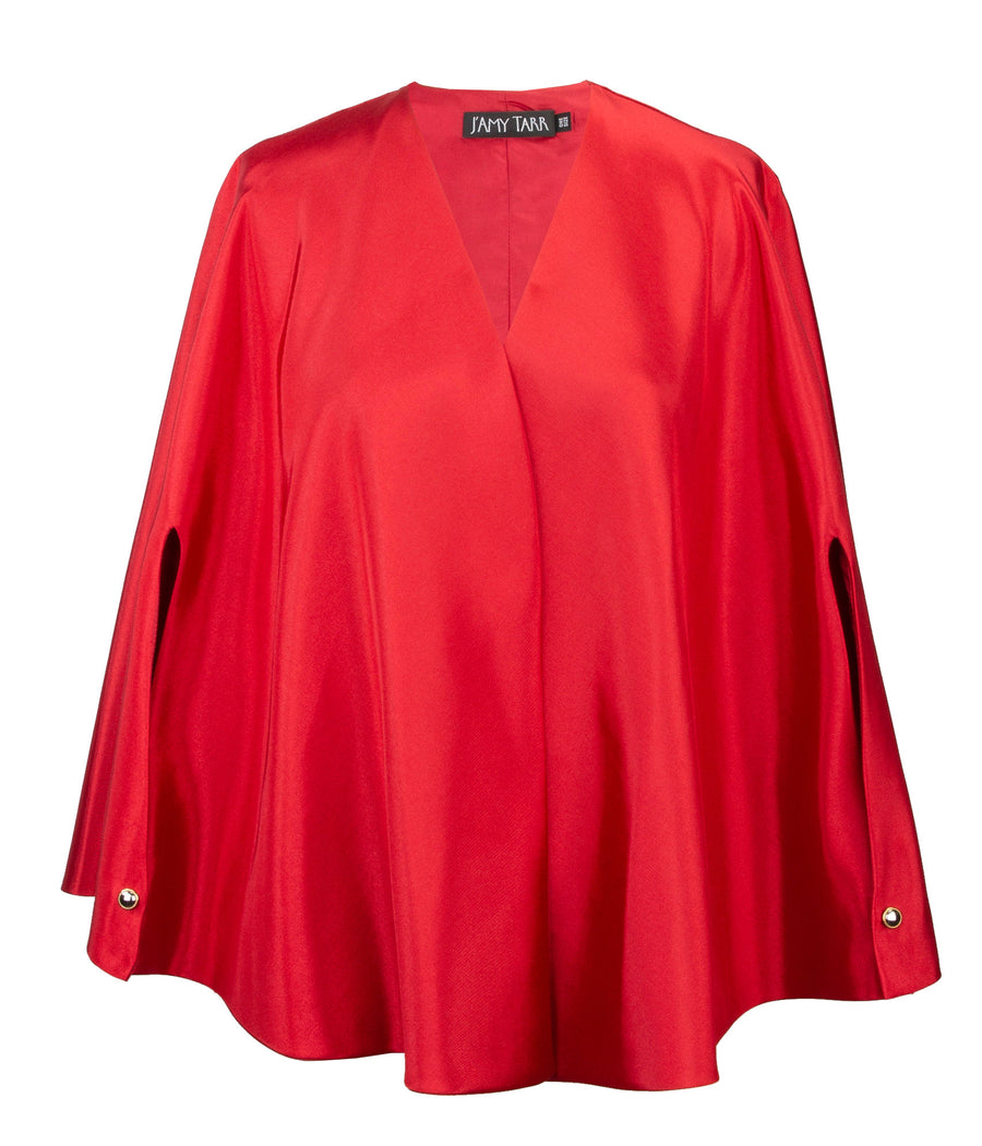 Capelet in Red Moire - One Size