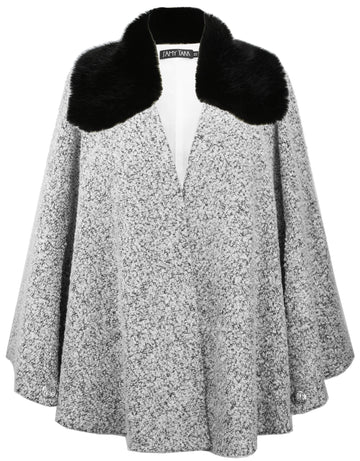 Frost Boucle Capelet with Removable Faux Fur Collar - One Size