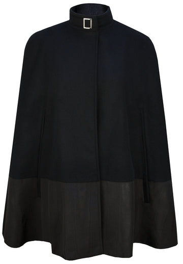 The Wool & Moire Cape in Black