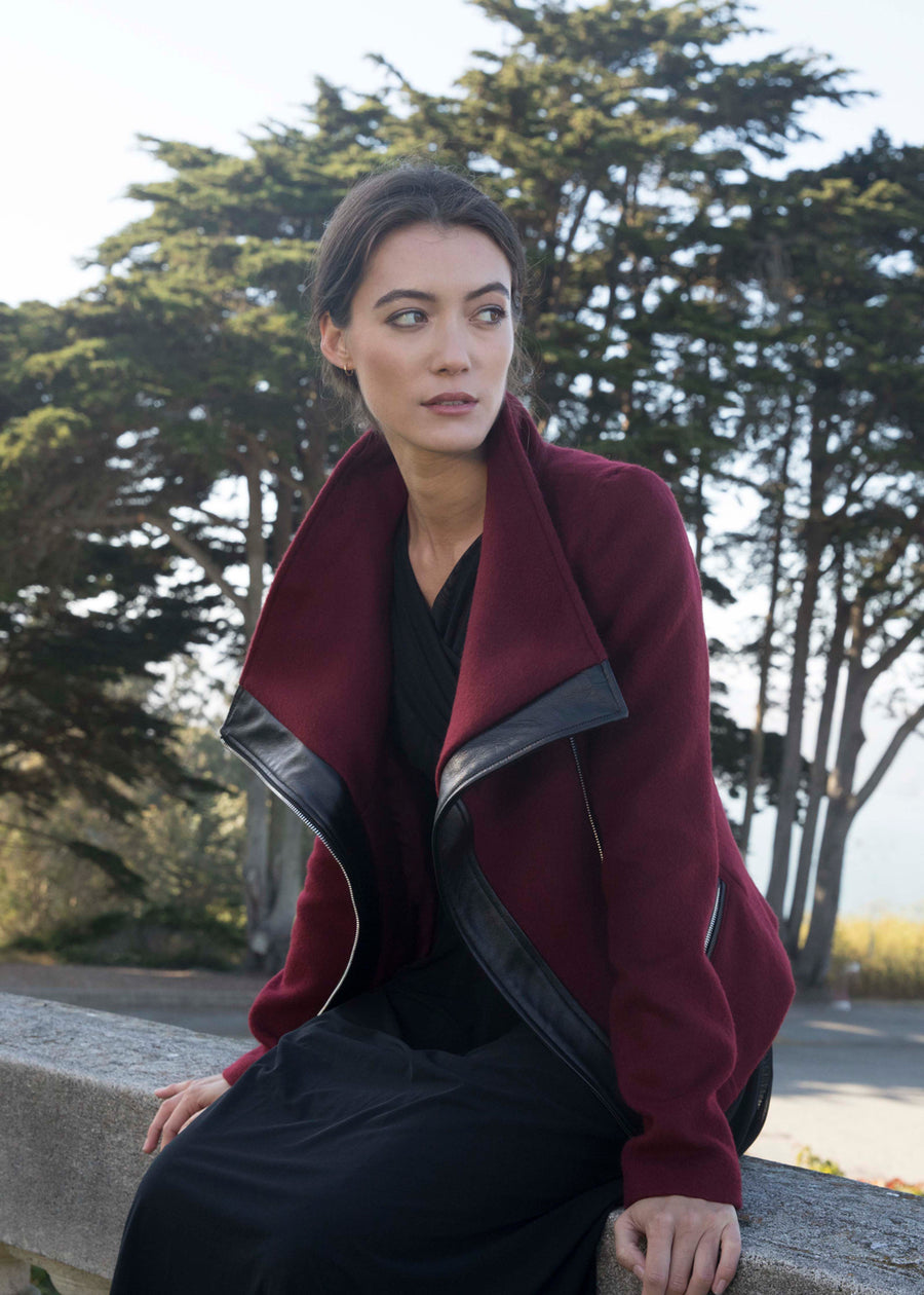 The Funnel-Neck Jacket in Cabernet