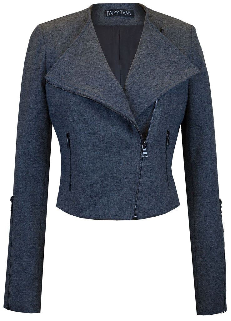 Charcoal Grey Japanese Wool Moto Jacket