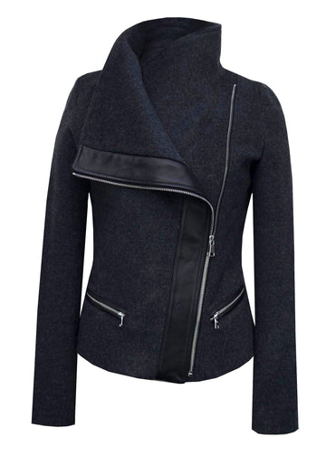 The Funnel-Neck Jacket in Dark Charcoal