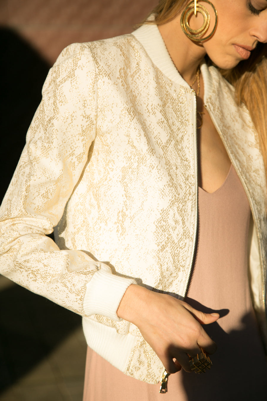 Gold Snakeskin on Ivory Denim Bomber Jacket