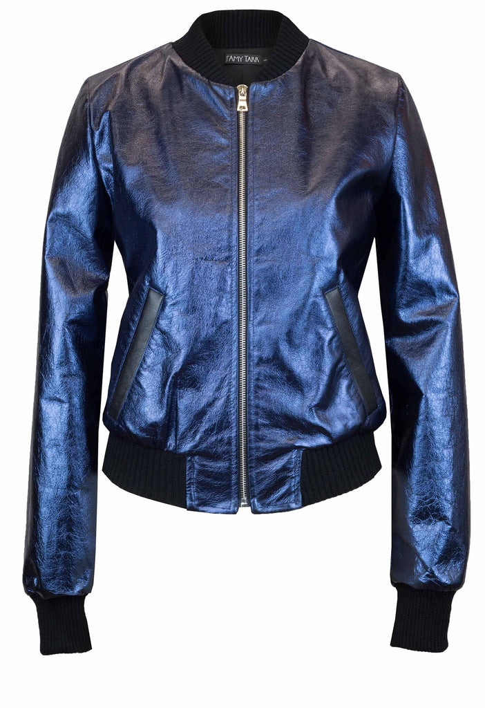 Sapphire Leather Bomber Jacket