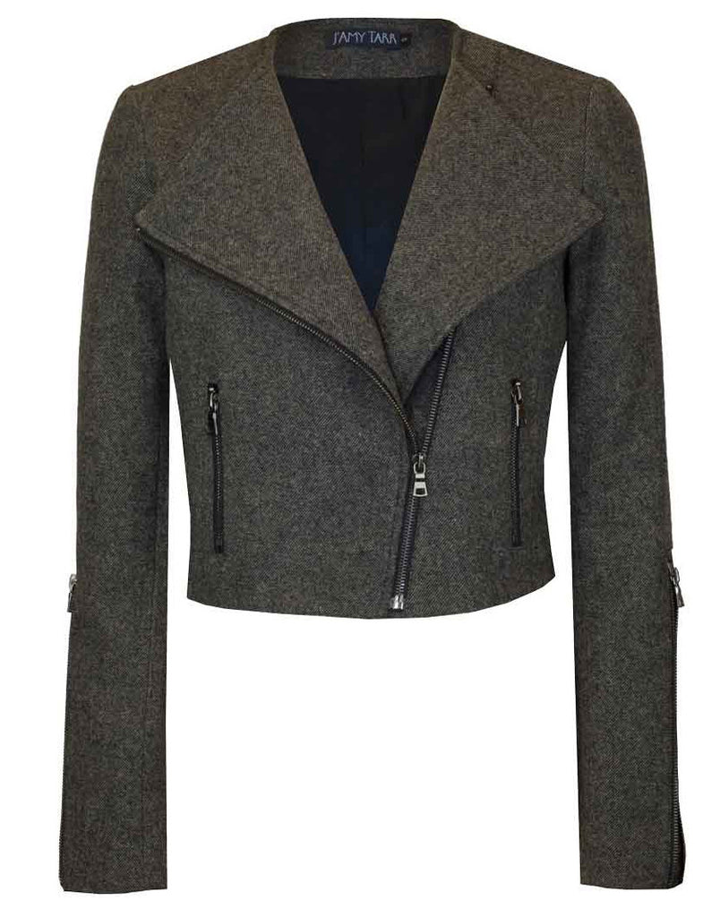 Tweed Yarn-Dye Japanese Wool Moto Jacket
