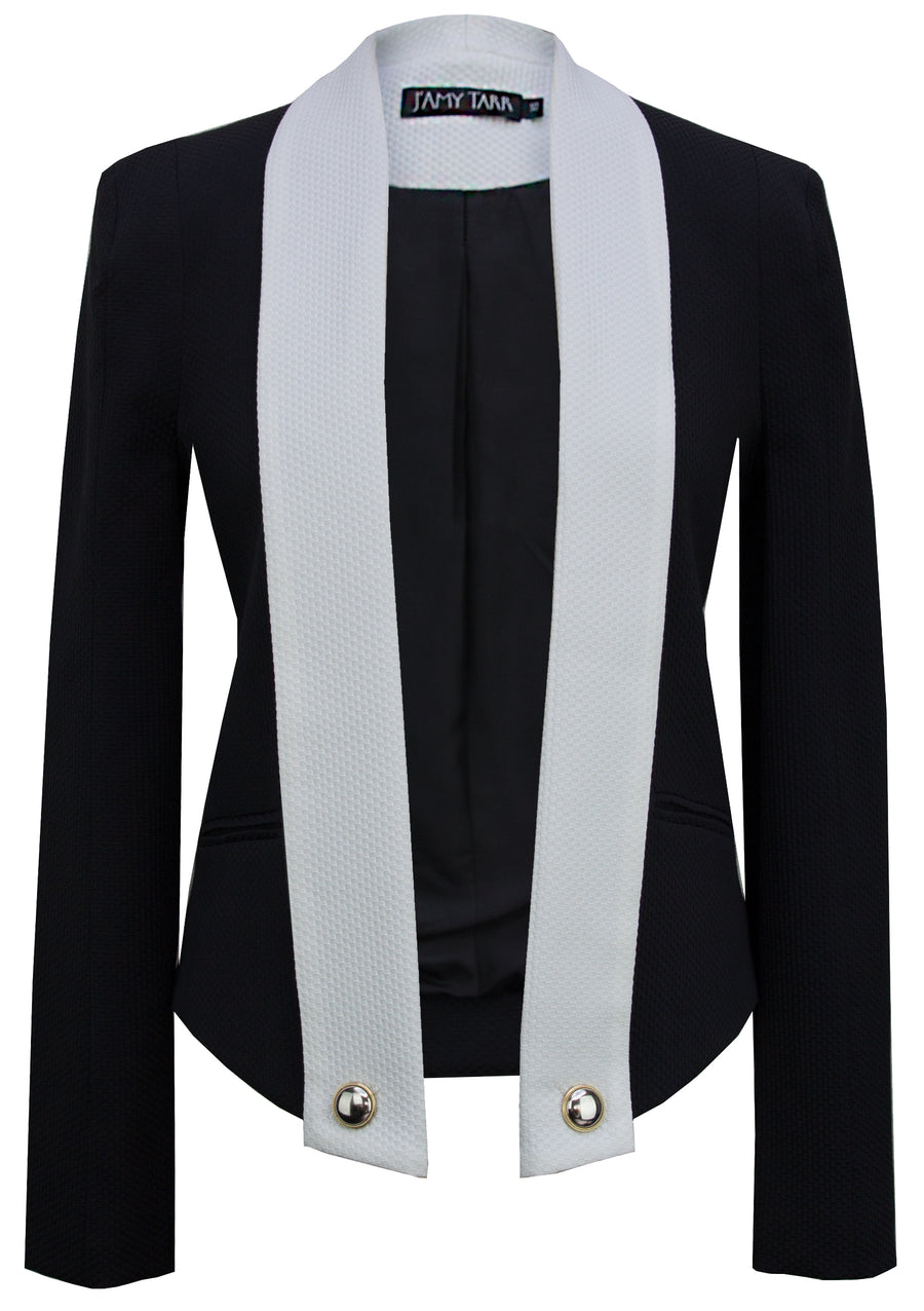 Draped Blazer - White Collar