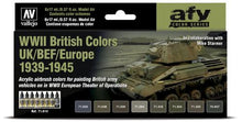 Load image into Gallery viewer, Vallejo Acrylic Airbrush colors sets ww2 british colors UK/BEF/EUROPE 39-45