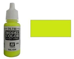 Vallejo Model Color Paints Fluorescent Yellow 70.730