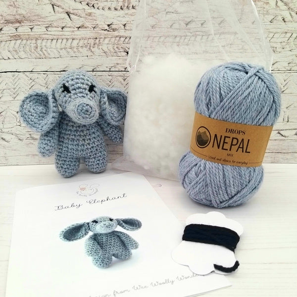Crochet Kit - Baby Elephant Mini Crochet Kit in Luxury Wool & Alpaca