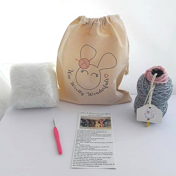 Luxury Alpaca Bunny Rabbit Crochet Kit in a choice of colours