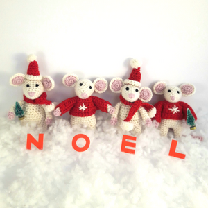 PDF Crochet Pattern - Christmas Baby Mice