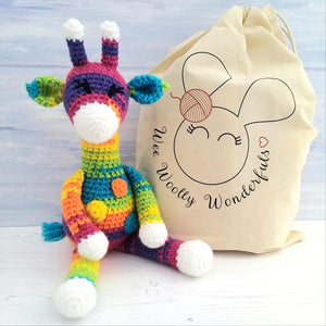 Sherbet the Rainbow Giraffe Crochet Kit - Complete Beginner Kit with Video Tutorials
