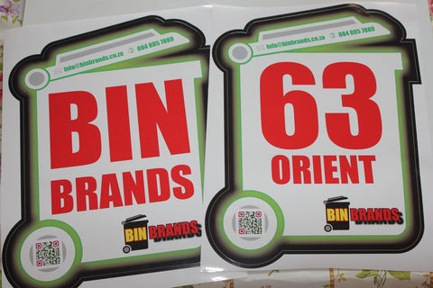 Std Wheelie Bin Labels (a set of 2 x A3)