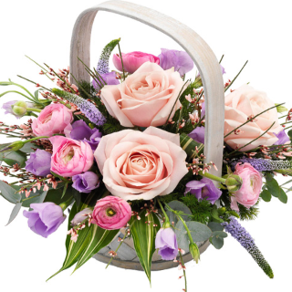 Lewis - Luxury Pink Rose Funeral Basket.