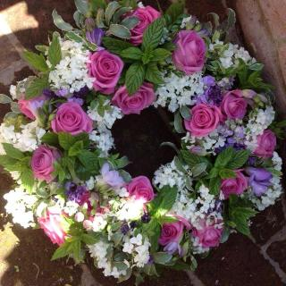 Appleshaw - Funeral Wreath with Roses and Herb Foliages.