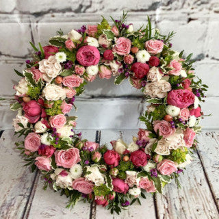 Carla - Luxury Pink Rose Funeral Wreath.