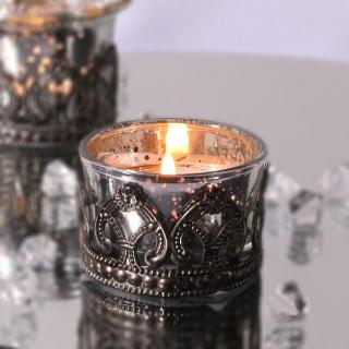 Barello - Speckled Glass tealight holder with metal rim. Pack of 20.