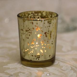 Angelo - Vintage Gold - Venetian Style Glass Speckled Tea Lights - Pack of 20.
