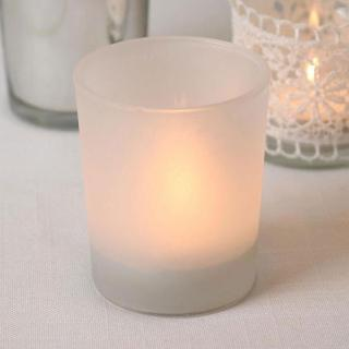 Tisato - White Frosted Tealight Holder. Pack of 20.