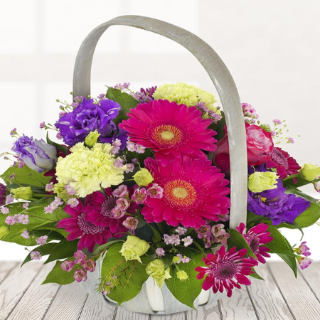 Tiree - Funeral Basket with Cerise Pink Roses.