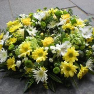 Brook - Yellow & White Funeral Posy.