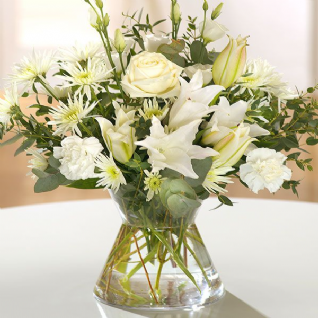 Abbotts Worthy - Cream Roses & Lily Summer Bouquet.