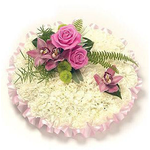 Blyth - White Funeral Posy with Pink Sprays.