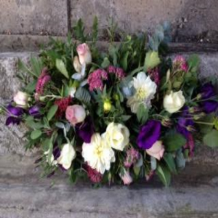 Funeral Spray with Cream and Lilac Roses, Purple Eustoma.