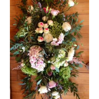 Funeral Spray with Pink Hydrangea, Spray Roses, Lavender and garden foliages.