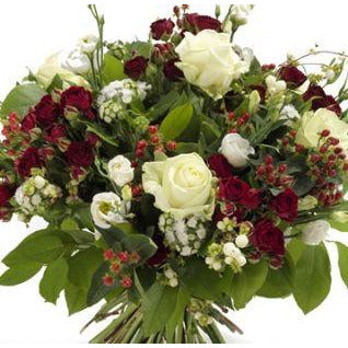 Kizzi - Red Spray Roses & Satin White Roses.